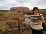 Writer Margaret Hellyer at Uluru.