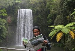 Assistant editor Prasadini Nanayakkara at Millaa Millaa Falls, Atherton Tablelands in North QLD.